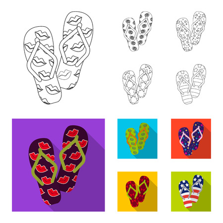 Flip-flops outline,flat icons in set collection for design. Beach shoes vector symbol stock web illustration.