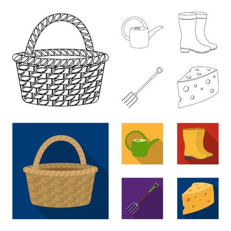 Basket wicker, watering can for irrigation, rubber boots, forks. Farm and gardening set collection icons in outline,flat style vector symbol stock illustration web.  イラスト・ベクター素材