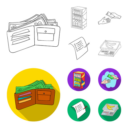 Purchase, goods, shopping, showcase .Supermarket set collection icons in outline,flat style vector symbol stock illustration . Illustration