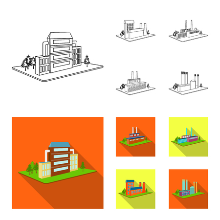 Processing factory,metallurgical plant. Factory and industry set collection icons in outline,flat style isometric vector symbol stock illustration .