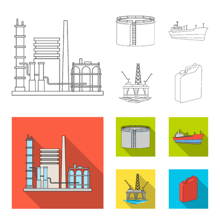 Oil refinery, tank, tanker, tower. Oil set collection icons in outline,flat style vector symbol stock illustration web. Illustration