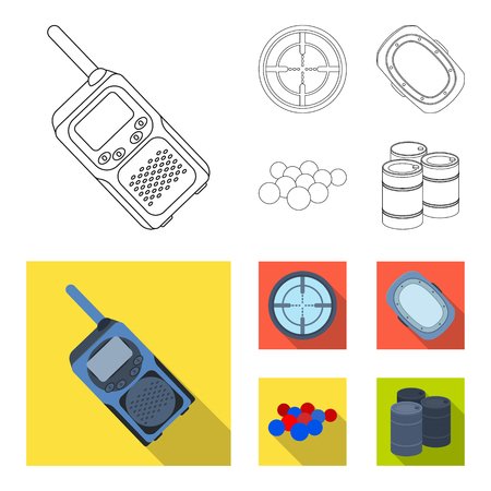 Balls with paint and other equipment. Paintball single icon in outline,flat style vector symbol stock illustration web.