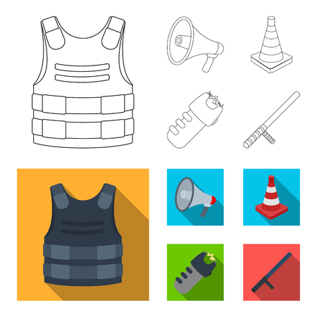 Bulletproof vest, megaphone, cone of fencing, electric shock. Police set collection icons in outline,flat style vector symbol stock illustration web.