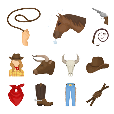 Rodeo, competition cartoon icons in set collection for design. Cowboy and equipment vector symbol stock web illustration. Stock Photo