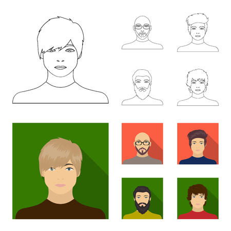 The face of a Bald man with glasses and a beard, a bearded man, the appearance of a guy with a hairdo. Face and appearance set collection icons in outline,flat style vector symbol stock illustration web.