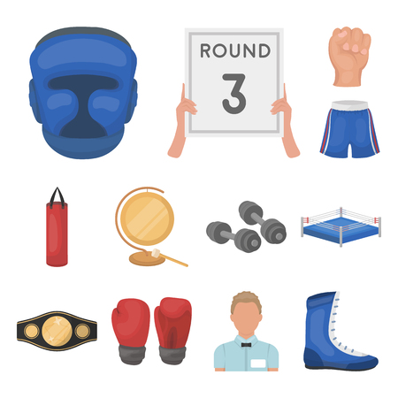 Boxing extreme sports cartoon icons in set collection for design. Boxer and attributes vector symbol stock  illustration.