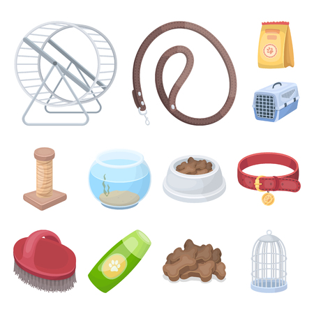 Pet shop cartoon icons in set collection for design.The goods for animals vector symbol stock web illustration. Illustration