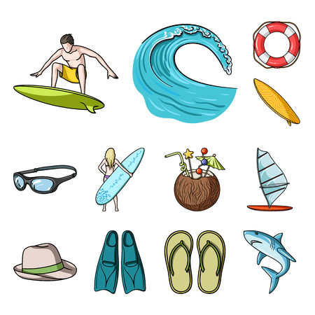 Surfing and extreme cartoon icons in set collection for design. Surfer and accessories vector symbol stock web illustration.