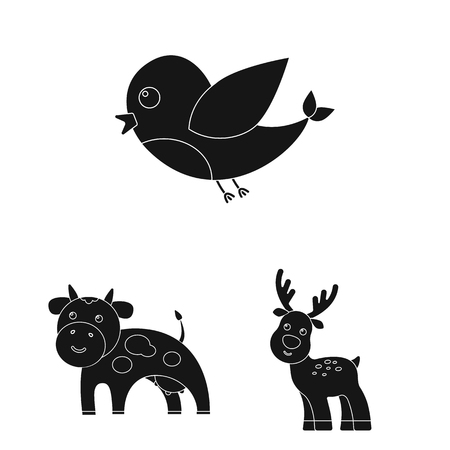 An unrealistic black animal icons in set collection for design. Toy animals vector symbol stock web illustration. Illustration