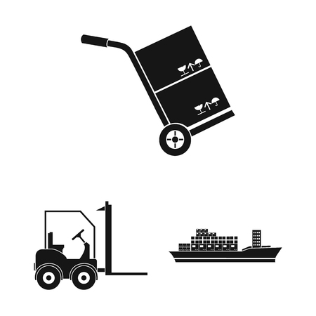 Logistics service black icons in set collection for design. Logistics and equipment vector symbol stock  illustration.