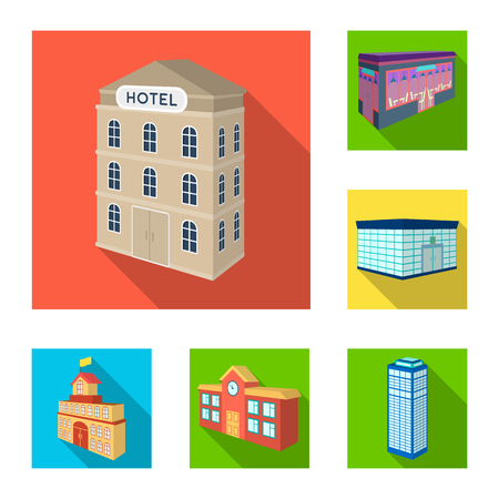 Building and architecture flat icons in set collection for design.The building and dwelling vector isometric symbol stock  illustration.