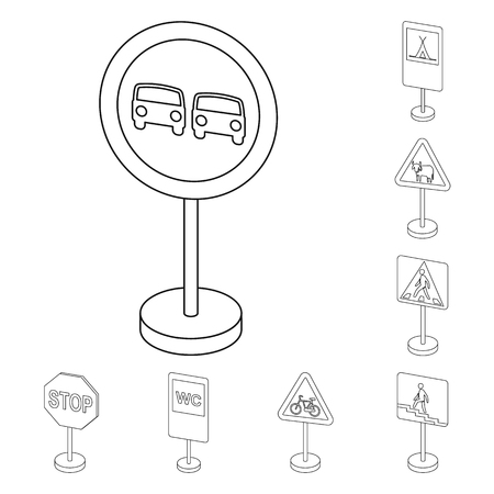 Different types of road signs outline icons in set collection for design. Warning and prohibition signs vector symbol stock  illustration. Illustration