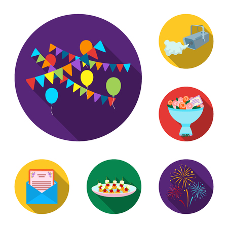 Event Organisation flat icons in set collection for design.Celebration and Attributes vector symbol stock  illustration.