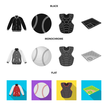 Playground, jacket, ball, protective vest. Baseball set collection icons in black, flat, monochrome style vector symbol stock illustration .