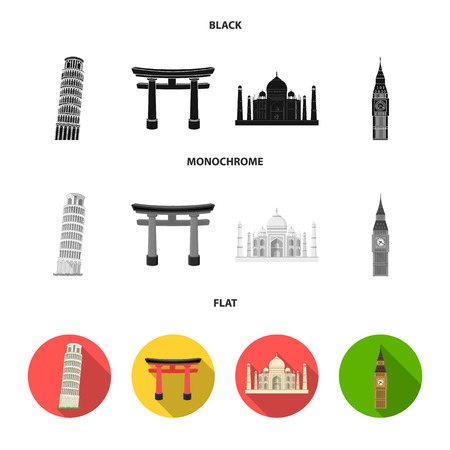Sights of different countries black, flat, monochrome icons in set collection for design. Famous building vector symbol stock  illustration.