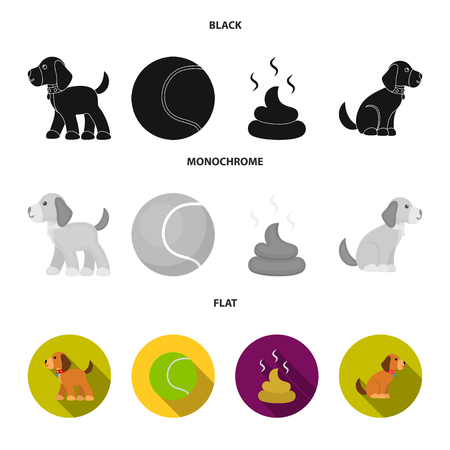 Dog sitting, dog standing, tennis ball, feces. Dog set collection icons in black, flat, monochrome style vector symbol stock illustration . Çizim