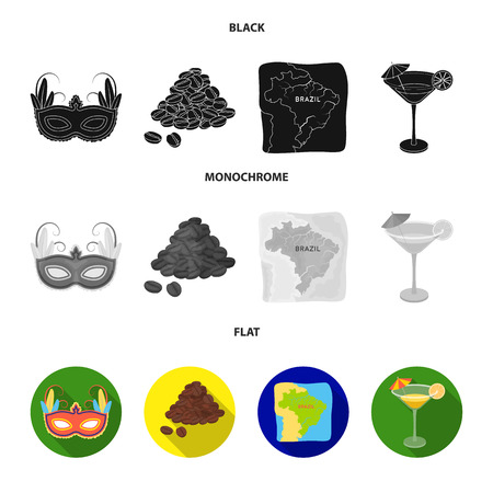 Brazil, country, mask, carnival . Brazil country set collection icons in black, flat, monochrome style vector symbol stock illustration .