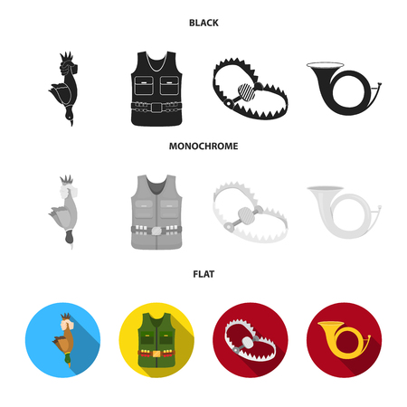 A trophy in his hand, a steel trap, a hunting vest with patronage, a horn..Hunting set collection icons in black, flat, monochrome style vector symbol stock illustration .