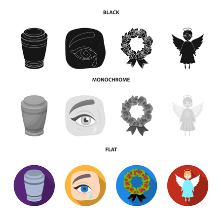 The urn with the ashes of the deceased, the tears of sorrow for the deceased at the funeral, the mourning wreath, the angel of death. Funeral ceremony set collection icons in black, flat, monochrome style vector symbol stock illustration .