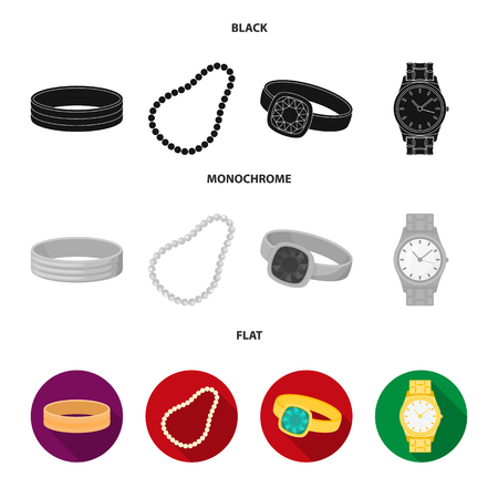 Engagement ring, beads from pearls, men ring, wristwatch gold. Jewelery and accessories set collection icons in black, flat, monochrome style vector symbol stock illustration . Illustration
