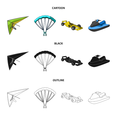 Hang glider, parachute, racing car, water scooter.Extreme sport set collection icons in cartoon,black,outline style vector symbol stock illustration . Ilustracja