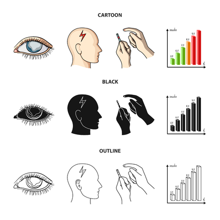 Poor vision, headache, glucose test, insulin dependence. Diabetic set collection icons in cartoon,black,outline style vector symbol stock illustration .