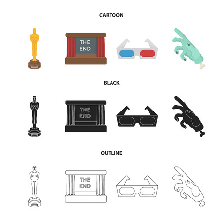 Award Oscar, movie screen, 3D glasses. Films and film set collection icons in cartoon,black,outline style vector symbol stock illustration . Illustration