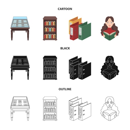 A table with old documents, bookshelves, folders, a visitor. A library and a bookstore set collection icons in cartoon,black,outline style vector symbol stock illustration .