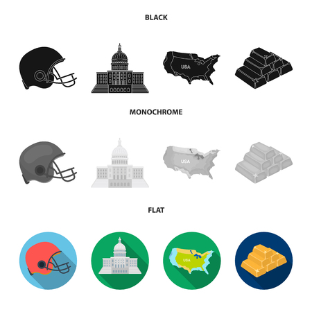 Football player helmet, capitol, territory map, gold and foreign exchange. USA country set collection icons in black, flat, monochrome style vector symbol stock illustration .  イラスト・ベクター素材
