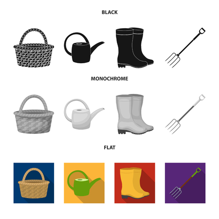 Basket wicker, watering can for irrigation, rubber boots, forks. Farm and gardening set collection icons in black, flat, monochrome style vector symbol stock illustration . Ilustração