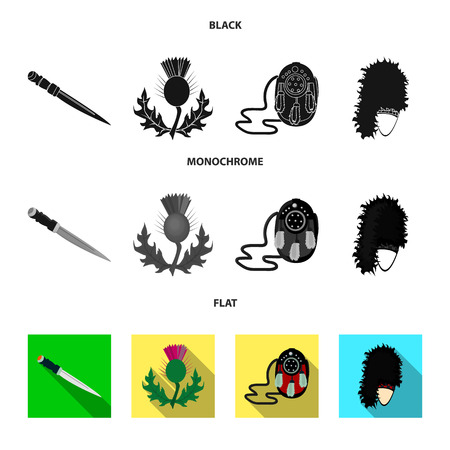 National Dirk Dagger, Thistle National Symbol, Sporran,glengarry.Scotland set collection icons in black, flat, monochrome style vector symbol stock illustration . Çizim