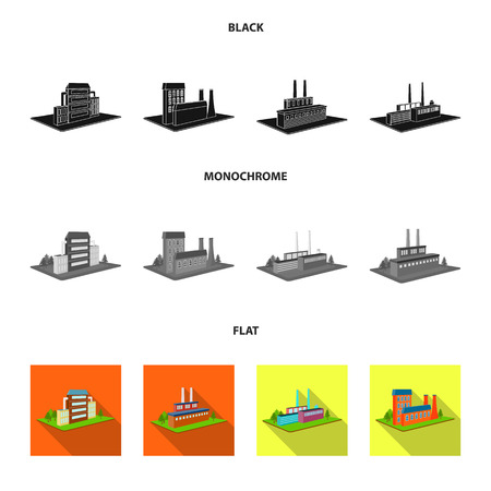 Processing factory,metallurgical plant. Factory and industry set collection icons in black, flat, monochrome style isometric vector symbol stock illustration . Иллюстрация