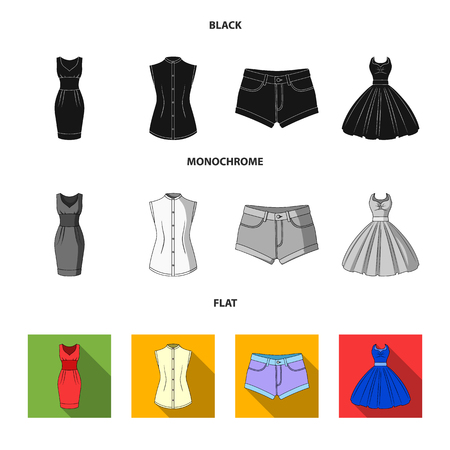 Women Clothing black, flat, monochrome icons in set collection for design.Clothing Varieties and Accessories vector symbol stock illustration. Illustration