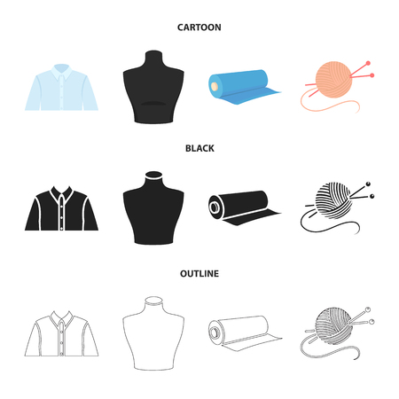 A man shirt, a mannequin, a roll of fabric, a ball of threads and knitting needles.Atelier set collection icons in cartoon,black,outline style vector symbol stock illustration .