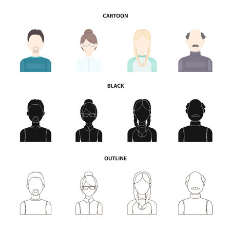 A man with a beard, a businesswoman, a pigtail girl, a bald man with a mustache.Avatar set collection icons in cartoon,black,outline style vector symbol stock illustration . Иллюстрация