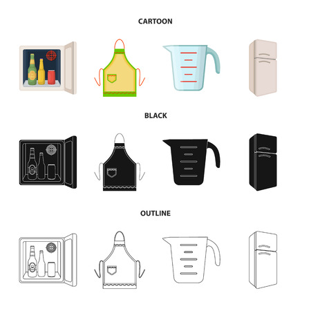 Kitchen equipment cartoon,black,outline icons in set collection for design. Kitchen and accessories vector symbol stock illustration.