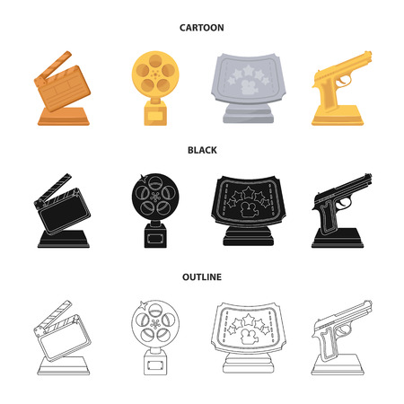 Gold pistol, silver prize for the best supporting role and other prizes.Movie awards set collection icons in cartoon,black,outline style vector symbol stock illustration . Stock Illustratie