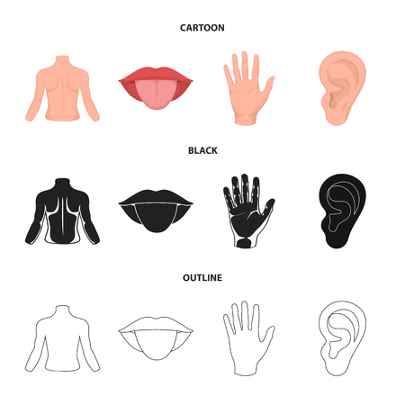 Back of the person, mouth, hand, ear. Part of the body set collection icons in cartoon,black,outline style vector symbol stock illustration .