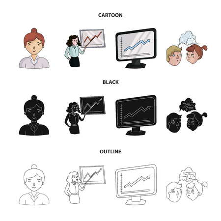 Businesswoman, growth charts, brainstorming.Business-conference and negotiations set collection icons in cartoon,black,outline style vector symbol stock illustration .