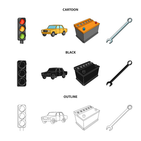 Traffic light, old car, battery, wrench, Car set collection icons in cartoon,black,outline style vector symbol stock illustration . Illustration
