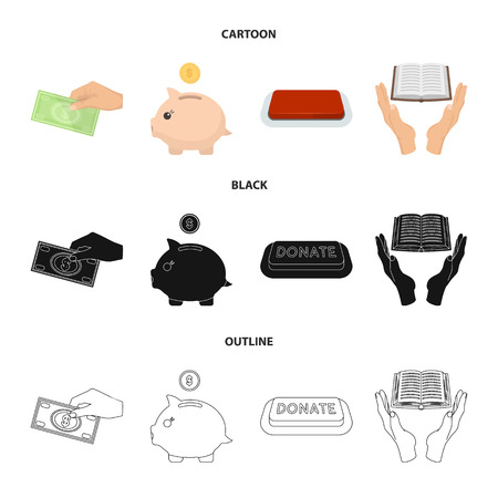 Hand with money for poshestvovaniya, a piggy bank for charity, a button with an inscription, a book for the blind in their hands. Charity and donation set collection icons in cartoon,black,outline style vector symbol stock illustration .