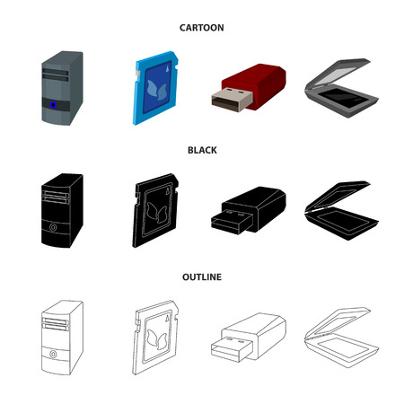 A system unit, a flash drive, a scanner and a SD card. Personal computer set collection icons in cartoon,black,outline style vector symbol stock illustration . Иллюстрация