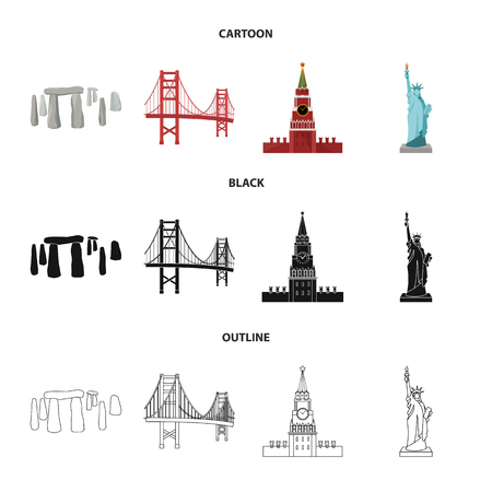 Sights of different countries cartoon,black,outline icons in set collection for design. Famous building vector symbol stock  illustration.
