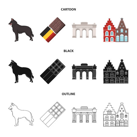 Chocolate, cathedral and other symbols of the country.Belgium set collection icons in cartoon,black,outline style vector symbol stock illustration .