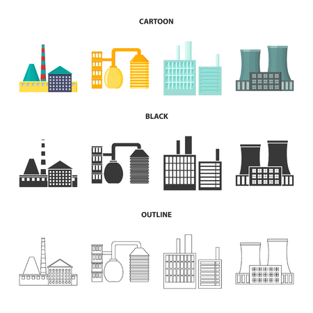 Industry, production.Factory set collection icons in cartoon,black,outline style vector symbol stock illustration .