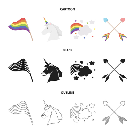 Flag, unicorn symbol, arrows with heart.Gay set collection icons in cartoon,black,outline style vector symbol stock illustration .