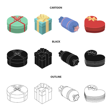 Gift box with bow, gift bag.Gifts and certificates set collection icons in cartoon,black,outline style vector symbol stock illustration.