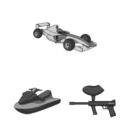 Extreme sport monochrome icons in set collection for design.Different kinds of sports vector symbol stock  illustration. Vectores