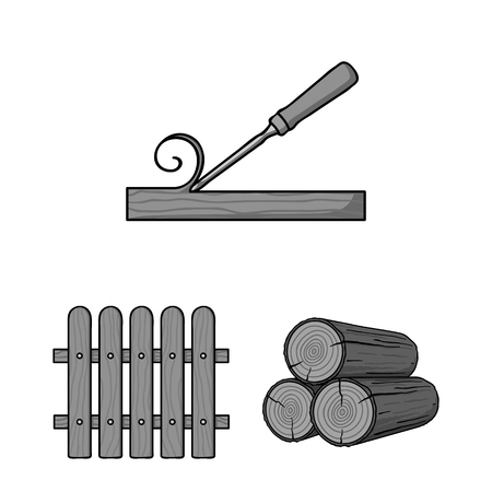 Sawmill and Timber monochrome icons in set collection for design. Hardware and Tools vector symbol stock  illustration. Ilustrace