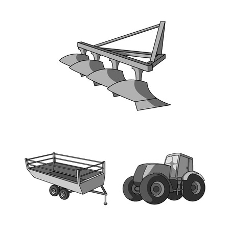 Agricultural machinery monochrome icons in set collection for design. Equipment and device vector symbol stock web illustration. Illustration